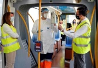 Los controles periódicos confirman la seguridad frente a la covid del tranvía de Murcia