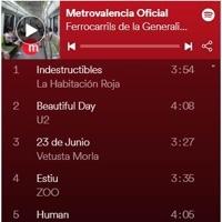 FGV ofrece su propia música en Spotify para poder viajar en silencio en Metrovalencia y Tram d'Alacant